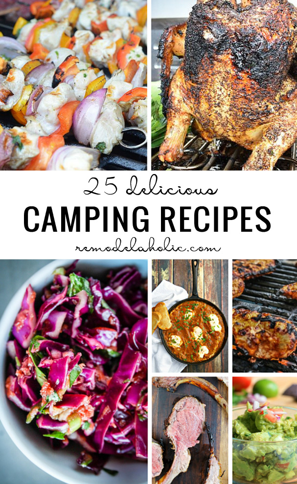 Plan out your next camping trip with a perfect menu using some of these 25 Delicious Camping Recipes featured on Remodelaholic.com