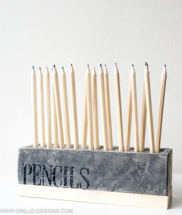 DIY Pencil Holder Made From Red Bricks Grillo Designs Www.grillo Designs.com