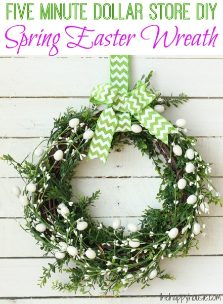 Five Minute Dollar Store DIY Spring Easter Wreath At Thehappyhousie.com