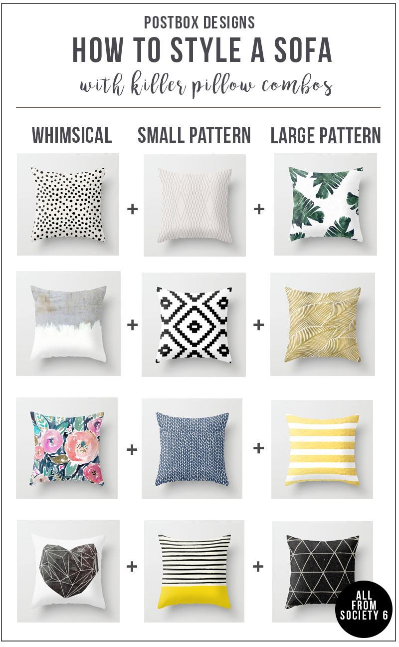 Sofa Round Up + Pillow Combinations by Postbox Designs