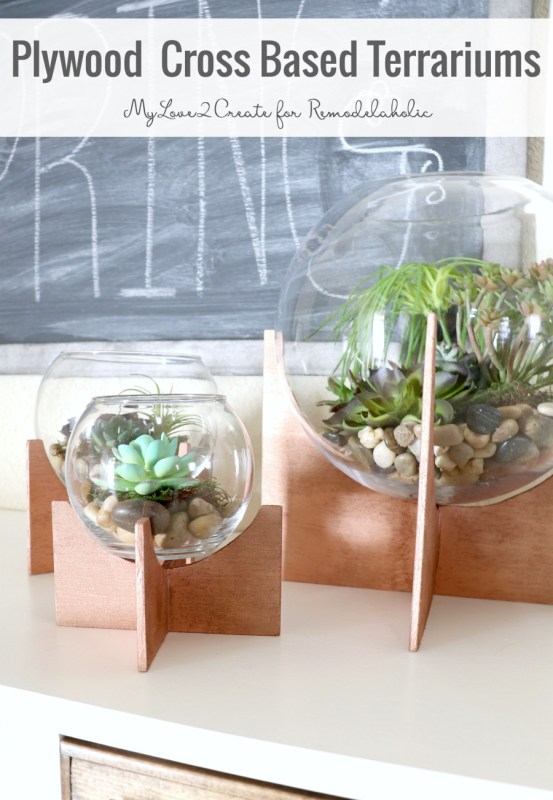 These cross-based globe terrariums, inspired by West Elm, are so easy to make using plywood scraps and inexpensive or thrifted glass bowls.