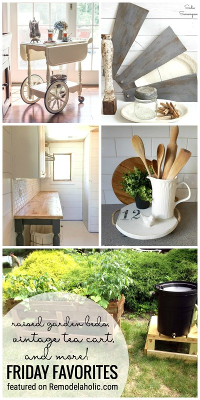 Raised Garden Beds, Vintage Tea Cart, and more featured on Remodelaholic.com for Friday Favorites