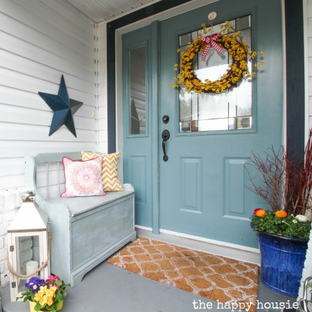 Spring Front Porch With Five Minute Dollar Store Forsythia Wreath And Spring Wreaths Finds Square