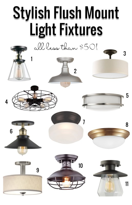 Stylish Flush Mount Fixtures Under $50. So many great, affordable options in this round-up of lighting options!