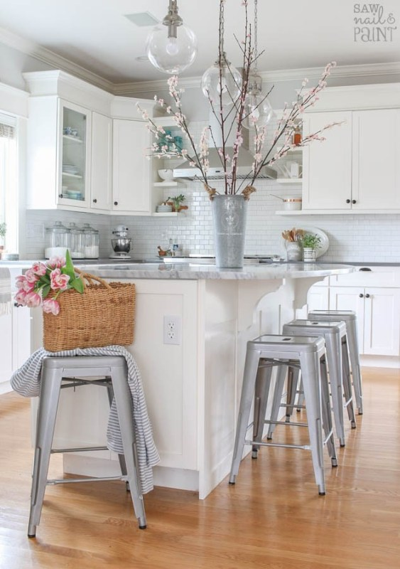 White Kitchen With Spring Flowers