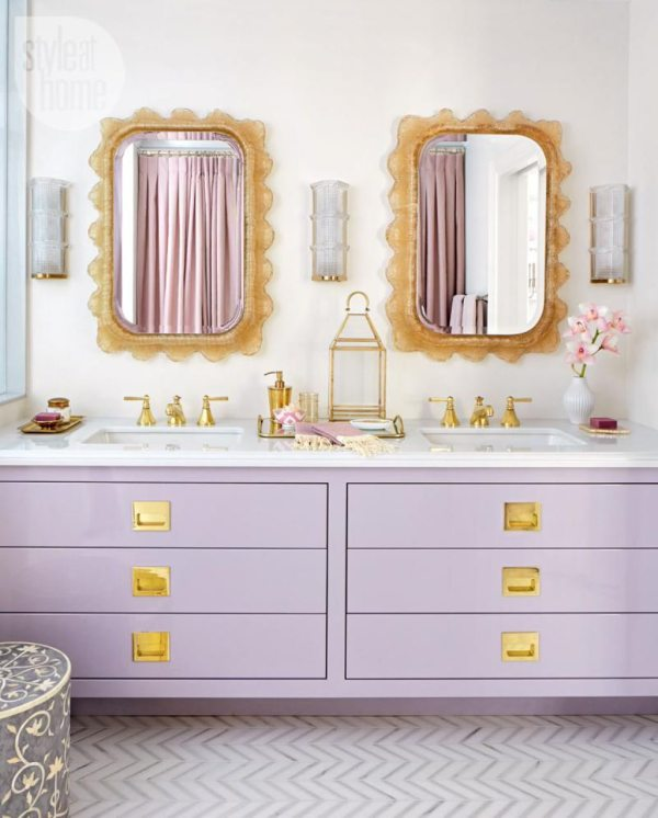 Bold Colorful Bathroom Inspiration | Bathroom Vanity With Purple Drawers And Golden Knobs Feature Undermount Bathroom Sinks Also Ornate Mirrors