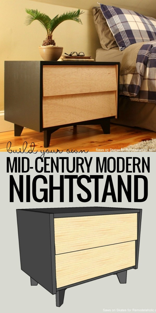 Diy Building Plans For Mid Century Modern Nighstand @Remodelaholic