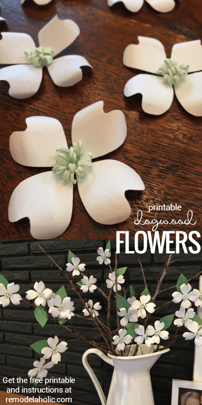 Free Printable Paper Flowers | Dogwood Blooms | DIY Craft Projects | Craft Group Projects | Print and Cut | Faux Flowers for Spring | @Remodelaholic
