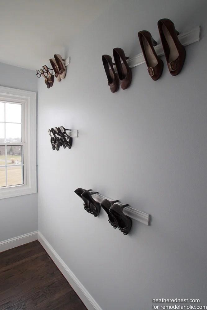 Remodelaholic Easy Diy Molding Shoe Storage For High