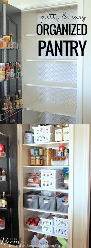 Pretty And Easy Organized Pantry Makeover @Remodelaholic