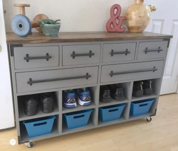 Shoe Cubby Dresser Semi Front, MyLove2Create