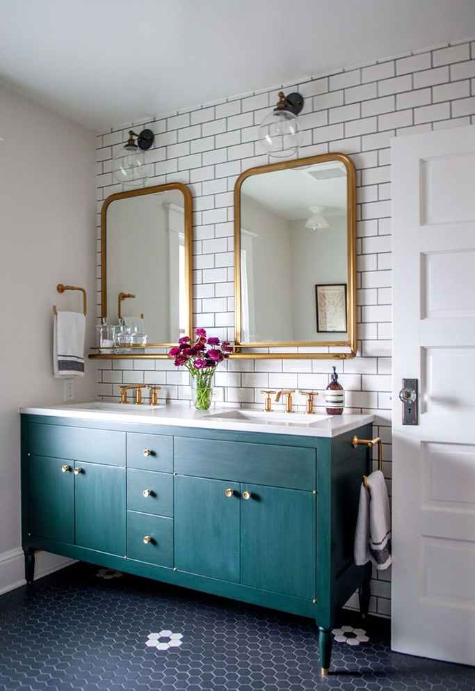 Bold Colorful Bathroom Inspiration | White Metro With Black Grout Bathroom