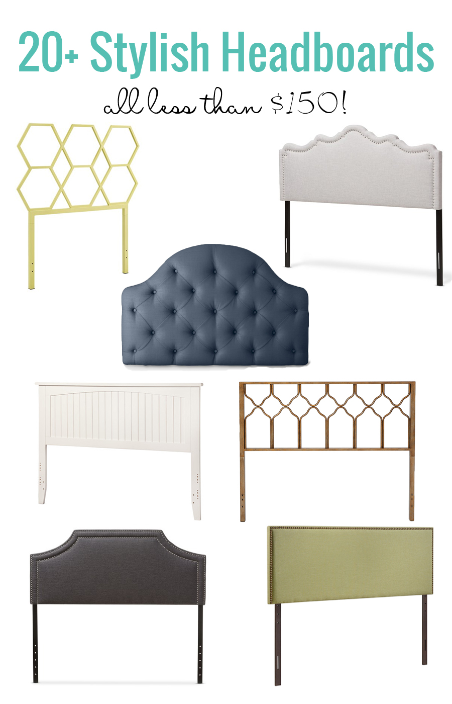 Loving this round-up of 20+ stylish headboards that are all less than $150! And many are even under $100. Great mix of upholstered headboards, metal headboards and wood headboards!