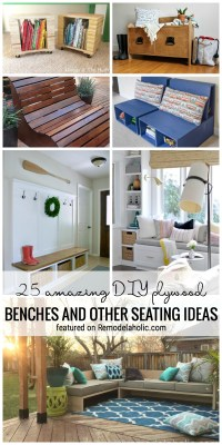 25 Amazing DIY Plywood Benches And Other Seating Ideas Featured On Remodelaholic.com