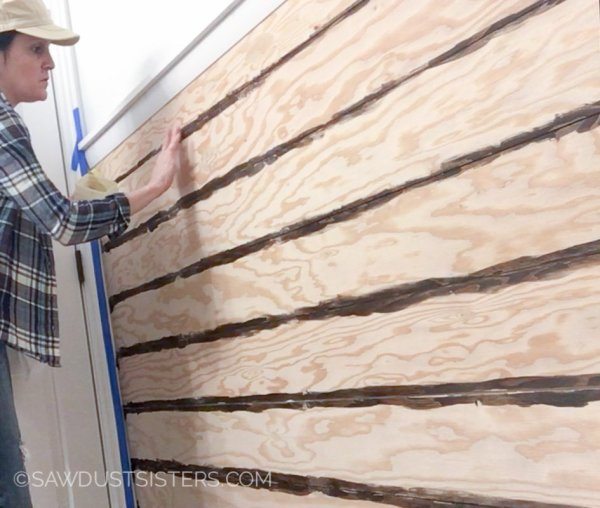 9 Plywood Planked Wall, Distressed Look, By Sawdust Sisters Featured On @Remodelaholic