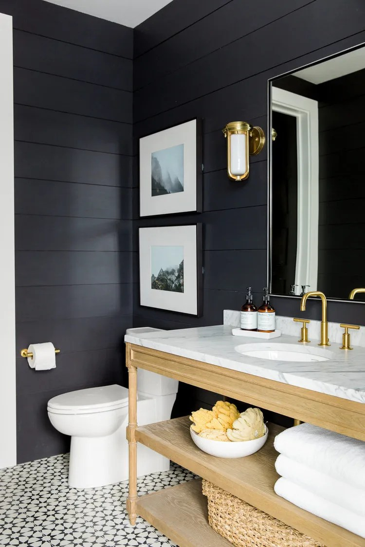 Black Shiplap Walls.