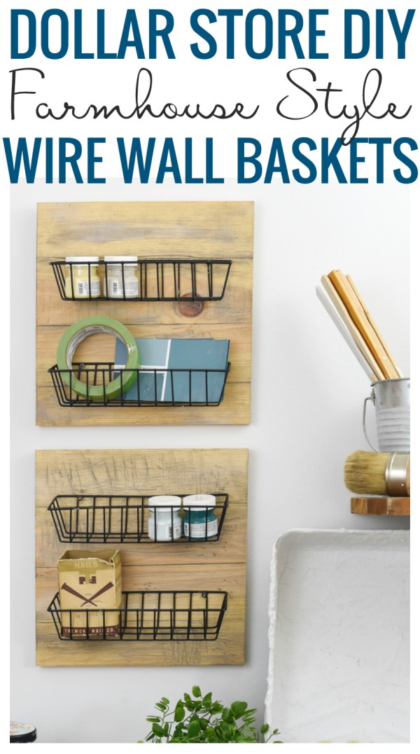 Make your own farmhouse style wall baskets using cheap dollar store materials | wall storage ideas | farmhouse storage | rustic organization