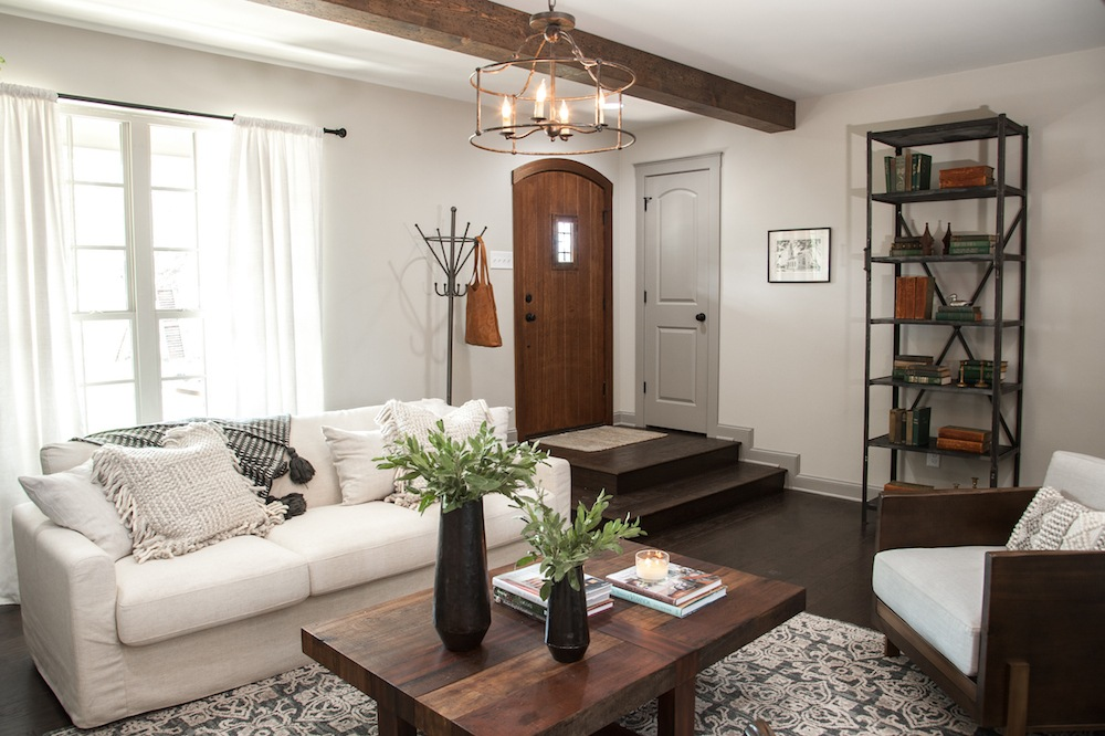 living room designs with leather couches colors beige furniture remodelaholic | get this look: farmhouse formal ...