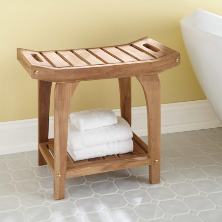 Bold Bathroom Design 05, Teak Shower Stool