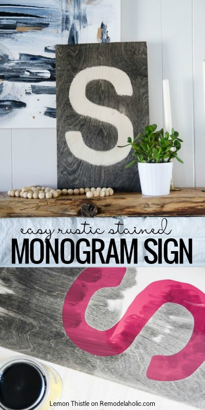 Add a personal touch to a gallery wall or mantel vignette with this easy and inexpensive DIY rustic stained plywood monogram sign. Use a letter or any shape you can imagine! DIY Rustic Stained Monogram Plywood Sign | #PlywoodPretty by Lemon Thistle On Remodelaholic.com