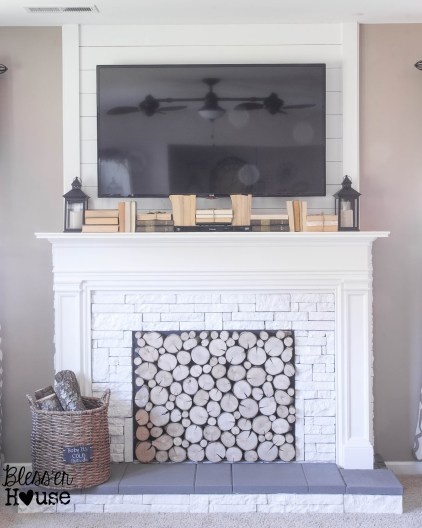 Faux Fireplace DIY Tutorial Blesser House Featured On @Remodelaholic
