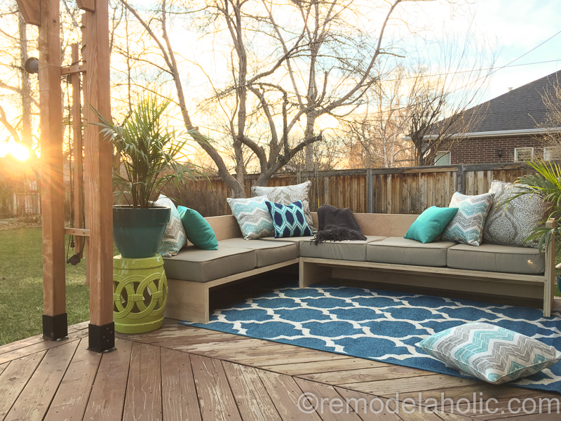 custom sectional sofa design reviews of arhaus baldwin diy outdoor tutorial + building plan
