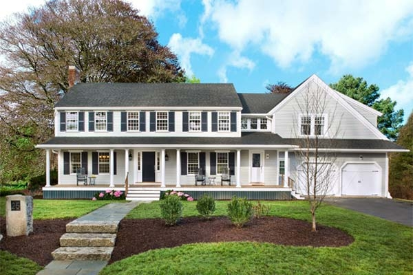 Remodelaholic real life rooms two story curb appeal - Colonial house exterior renovation ideas ...