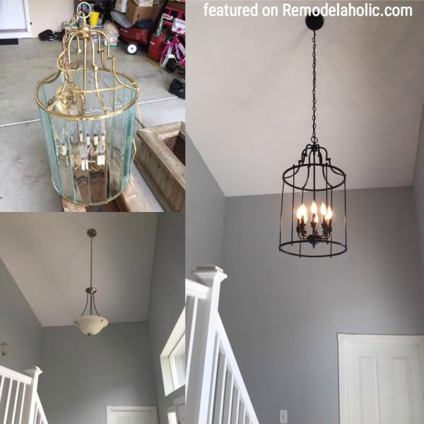 Brass Chandelier Update To Look Like Iron Featured On Remodelaholic.com