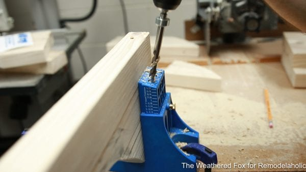drill pocket holes on 2x6 bench legs, How to make a wooden bench farmhouse outdoor bench