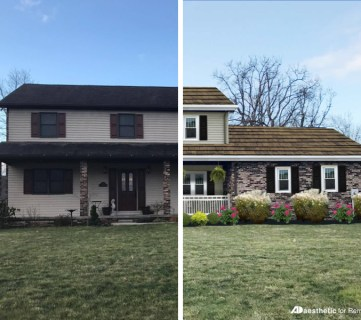 Adding curb appeal to a two story home   Virtual home makeover by AD Aesthetic on Remodelaholic.com