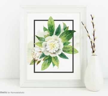 Neutral White Watercolor Floral Wall Art Printable