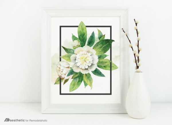 Green Wall Art for Spring: Neutral White Watercolor Floral Wall Art Printable
