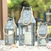 Galvanized Lantern Candle Holder With Rope, Silver