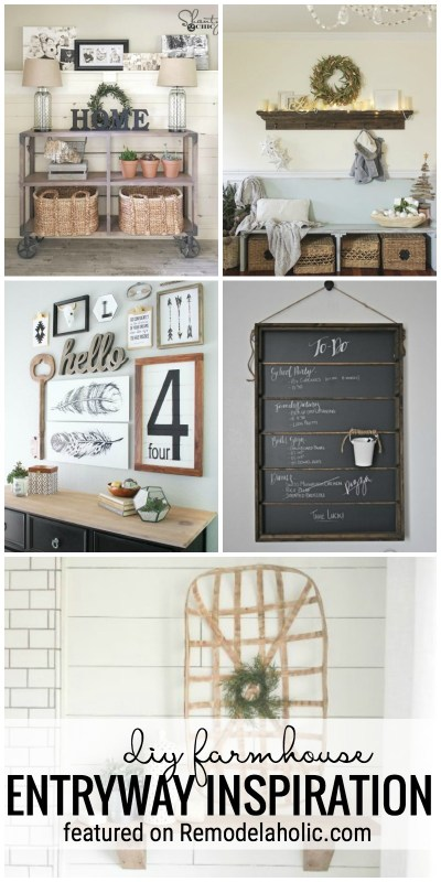 Get The Perfect Farmhouse Feel In Your Entryway With These DIY Farmhouse Entryway Inspirations Featured On Remodelaholic.com