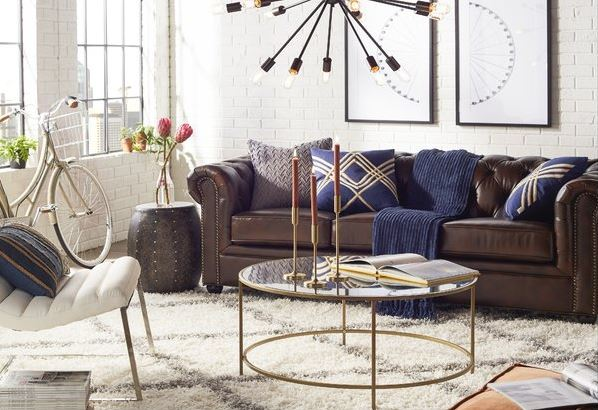 Sputnik Chandelier In A Loft Living Room