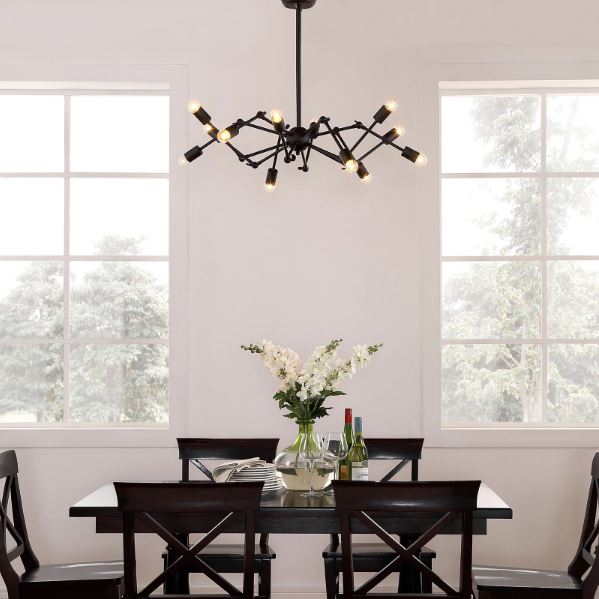 Sputnik Light Fixture Traditional Dining Room