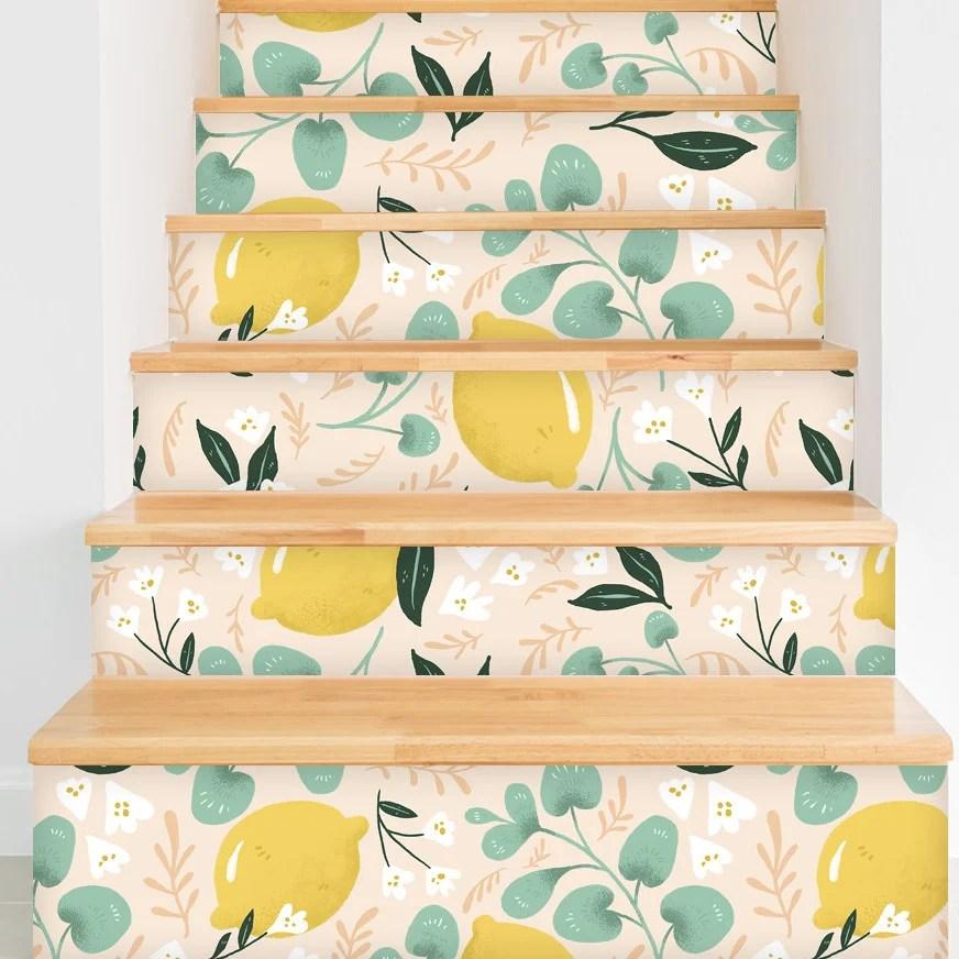 Wallpapered Stairs via Wayfair