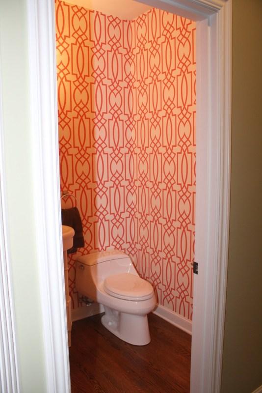 Coral Trellis Wallpaper Bathroom