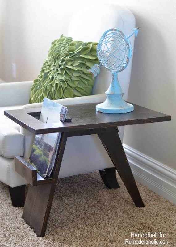 Remodelaholic build a diy mid century modern side table for How to make an end table out of books