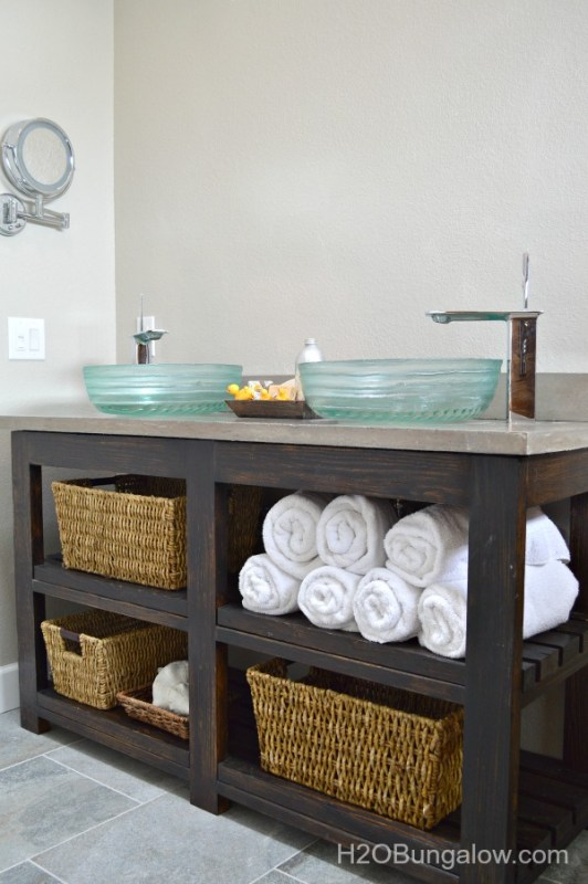2x4 Wood Projects, DIY open shelf vanity by H20 Bungalow