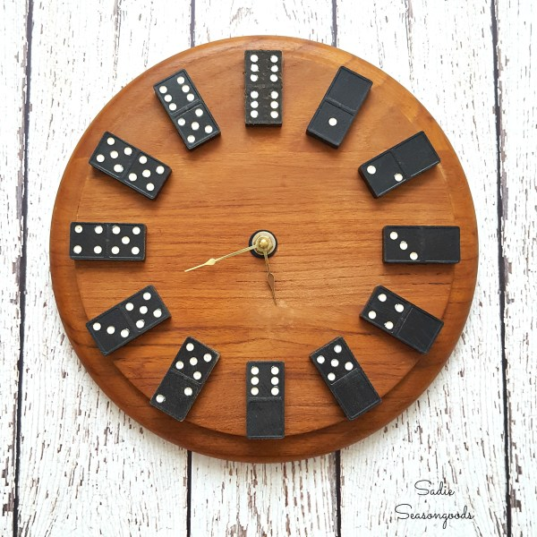 8 DIY Upcycled Repurposed Vintage Domino And Thrift Store Cutting Board Wall Clock By Sadie Seasongoods