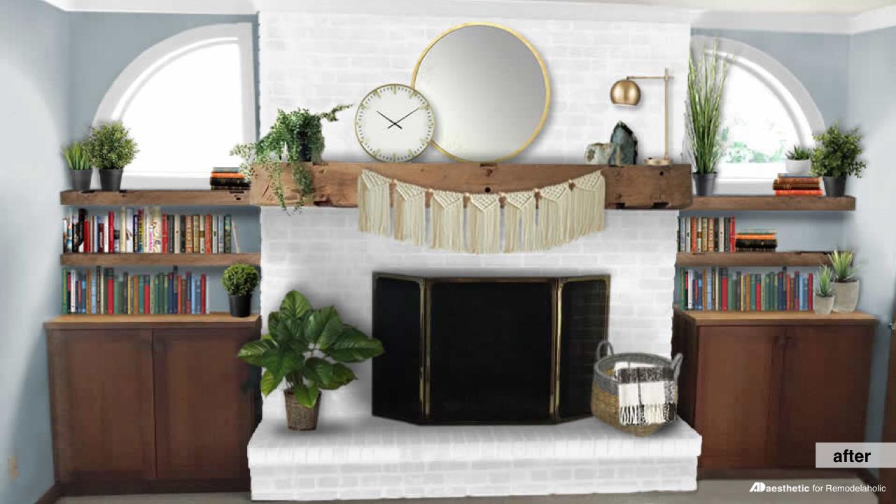 After Brick Fireplace Facelift