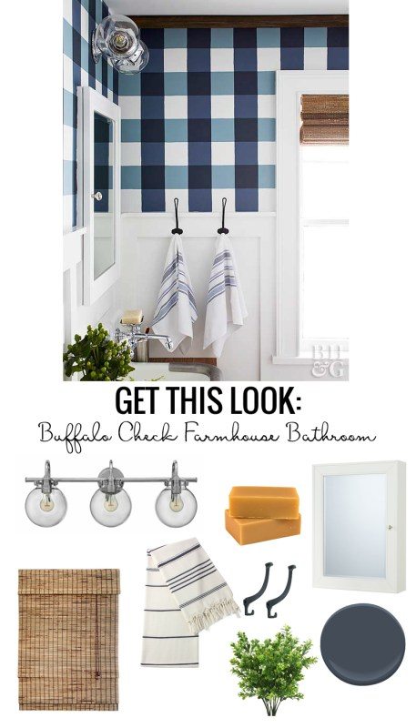 Buffalo Check Farmhouse Bathroom. Love the blue and white gingham walls, modern light fixture, striped towels, black iron hooks, medicine cabinet and wall-mount faucet.