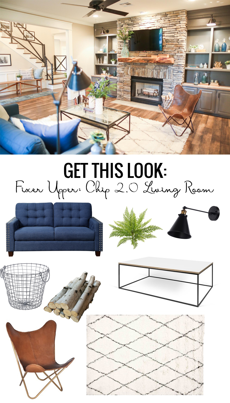 Get the look of the Fixer Upper Chip 2.0 Living Room featured on Remodelaholic.com