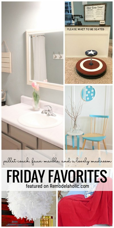 This Week's Friday Favorites Featuring A Pallet Couch, Faux Marble And A Lovely Mudroom. Friday Favorites Featured On Remodelaholic.com