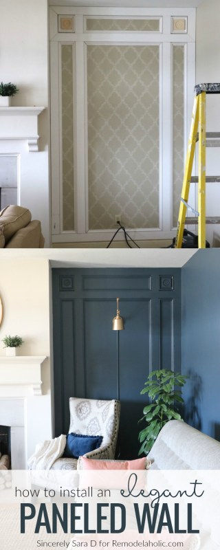 How To Install An Elegant DIY Paneled Wall Treatment @Remodelaholic