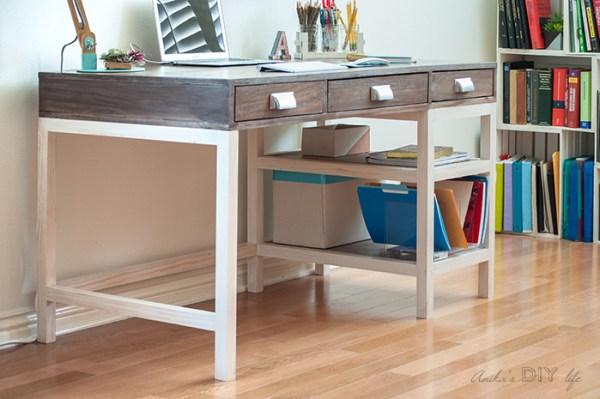DIY Modern Farmhouse Desk With Storage 10 700