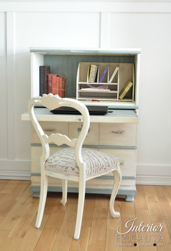 Faux Secretary Desk Pulled Out 650