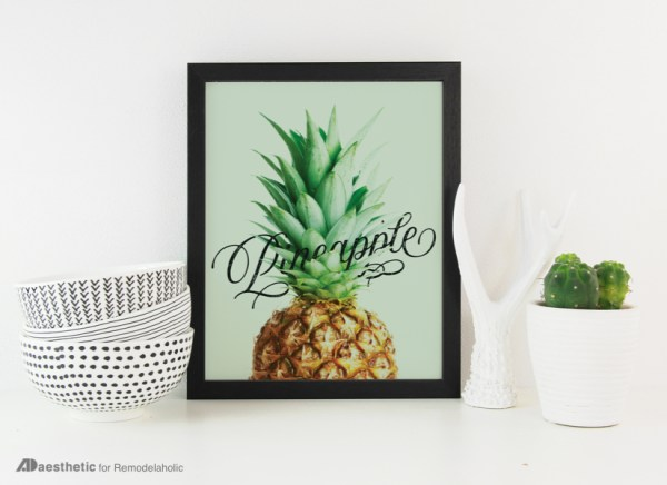 Printable Green Wall Art Idea | Pineapple Word Art Printable | AD Aesthetic For Remodelaholic