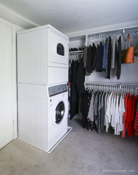 Greatest Remodelaholic | Adding a Stacked Washer and Dryer in a Walk-In Closet AZ34